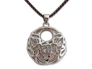 WHITE LABEL - collier moderne noir et or avec pendentif argenté  - Collier