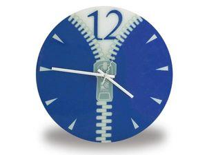 WHITE LABEL - horloge murale avec zip bleue deco maison design  - Horloge Murale