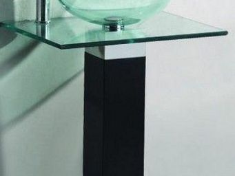 UsiRama.com - meuble salle de bain noir bois massif aobo 60cm - Meuble De Salle De Bains
