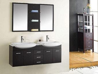 UsiRama.com - meuble salle de bain double vasques coupe 140cm - Meuble Double Vasque