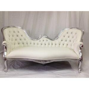 DECO PRIVE - méridienne baroque imitation cuir blanc et argenté - Canapé 3 Places