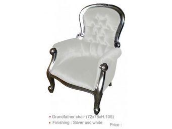DECO PRIVE - fauteuil de style en bois argenté et imitation cui - Fauteuil