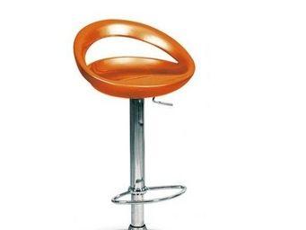 WHITE LABEL - chaise de bar bleue moon design orange - Chaise Haute De Bar