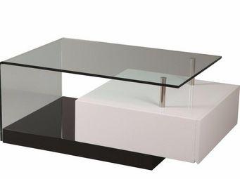 WHITE LABEL - table basse trunk en verre transparent tiroir blan - Table Basse Rectangulaire