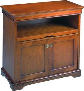 WHITE LABEL - meuble tv balzac 2 portes et plateau coulissant de - Meuble Tv Hi Fi