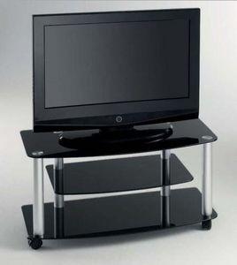WHITE LABEL - meuble tv effel design en verre trempé coloris noi - Meuble Tv Hi Fi