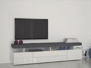 WHITE LABEL - meuble tv5 design treviso effet marbre avec 4 tiro - Meuble Tv Hi Fi