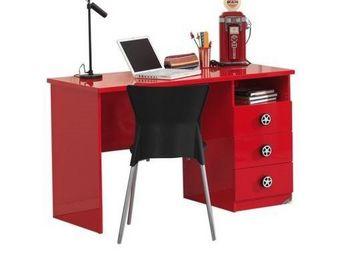 WHITE LABEL - bureau monza 2 tiroirs design laqu� rouge - Bureau