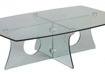 WHITE LABEL - table basse amethyste en verre - Table Basse Rectangulaire