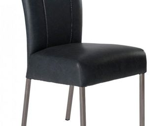 WHITE LABEL - chaise design pan similicuir noir pieds inox - Chaise
