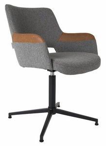 WHITE LABEL - chaise de bureau zuiver syl en tissu gris avec acc - Chaise