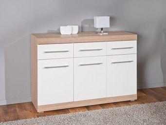 WHITE LABEL - buffet lublin chêne blanc 3 portes 3 tiroirs - Buffet Bas