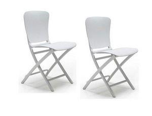 WHITE LABEL - lot de 2 chaises pliante zak design blanc - Chaise Pliante