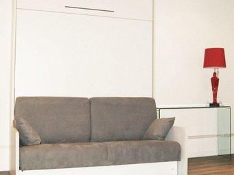 WHITE LABEL - armoire lit escamotable space sofa canapé gris int - Lit Escamotable