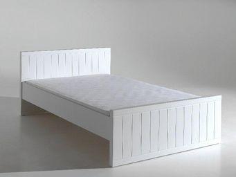 WHITE LABEL - lit robin design blanc 120 cm - Lit Double