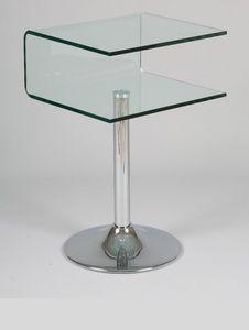 WHITE LABEL - guéridon clipper verre transparent - Bout De Canapé