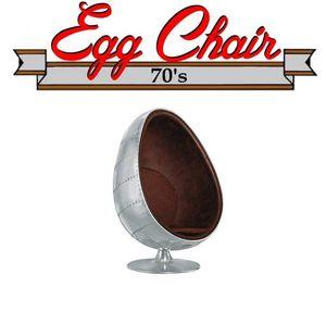 WHITE LABEL - fauteuil pivotant oeuf egg chair aviateur aluminiu - Fauteuil