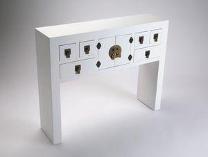 WHITE LABEL - matmata console design en bois 6 tiroirs 2 portes - Console