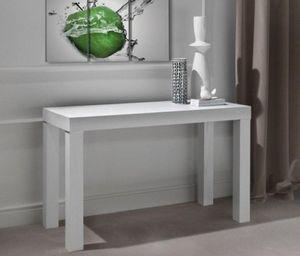 WHITE LABEL - console extensible pratika blanche en bois 120 x 5 - Console