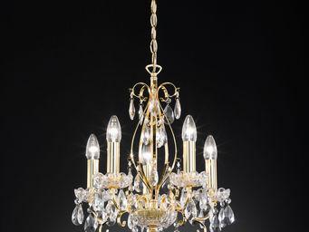 WHITE LABEL - lustre doré design cristal à 5 lumières - Lustre