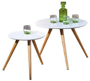 WHITE LABEL - lot de 2 tables d?appoint rond blanc et bambou - Table D'appoint