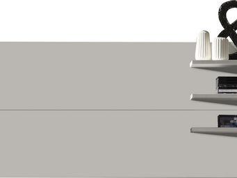 WHITE LABEL - support mural tv coloris pin blanc - Etagère