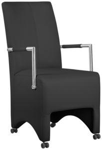 COMFORIUM - lot de 2 chaises à roulette ultra moderne noir - Fauteuil