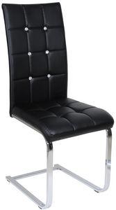 COMFORIUM - chaise capitonnée simili cuir noir et métal - Chaise