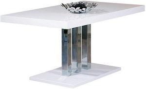 COMFORIUM - table de salle à manger rectangulaire blanc et mét - Table De Repas Rectangulaire