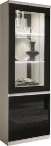 COMFORIUM - vitrine à 1 porte coloris blanc et noir avec led i - Vaisselier