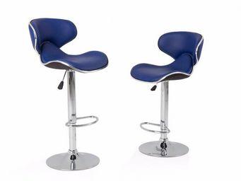 WHITE LABEL - lot de 2 tabourets de bar nantes simili cuir bleu - Chaise Haute De Bar