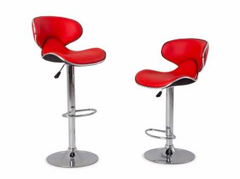 WHITE LABEL - lot de 2 chaises de bar nantes simili cuir rouge - Chaise Haute De Bar