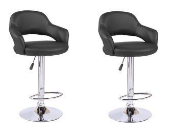 WHITE LABEL - lot de 2 chaises de bar fresh similicuir noir - Chaise Haute De Bar