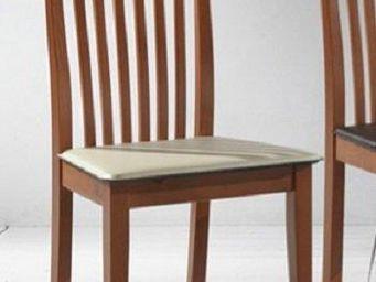 WHITE LABEL - chaise tema merisier assise en cuir blanc - Chaise