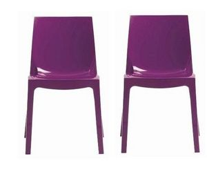 WHITE LABEL - lot de 2 chaises ice empilable design violet brill - Chaise