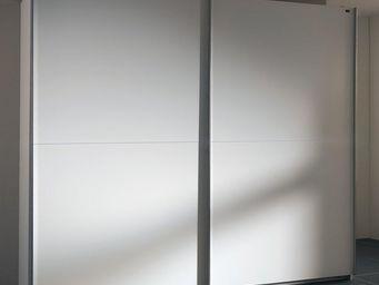 WHITE LABEL - dressing à portes coullissantes light 250 blanc - Armoire Dressing