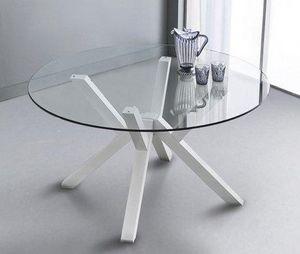 WHITE LABEL - table repas teorema en verre design blanc 120 cm - Table De Repas Ronde