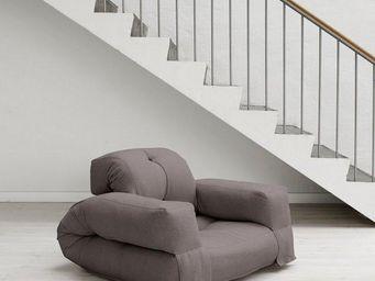 WHITE LABEL - fauteuil lit hippo futon gris couchage 90*200*25cm - Fauteuil