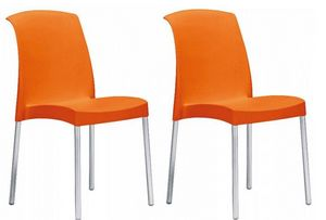 WHITE LABEL - lot de 2 chaises jane design orange - Chaise