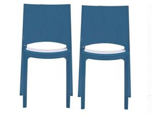 WHITE LABEL - lot de 2 chaises sunshine empilables design bleu b - Chaise