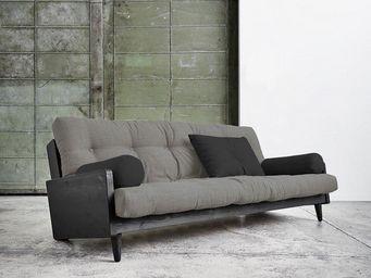 WHITE LABEL - canapé noir 3/4 places convertible indie futon gra - Canapé 3 Places