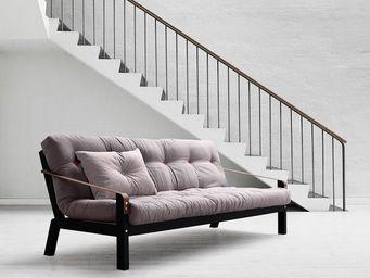WHITE LABEL - canapé noir 3/4 places convertible poetry futon gr - Canapé 3 Places