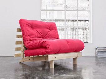 WHITE LABEL - fauteuil bz style scandinave roots futon rose mage - Fauteuil