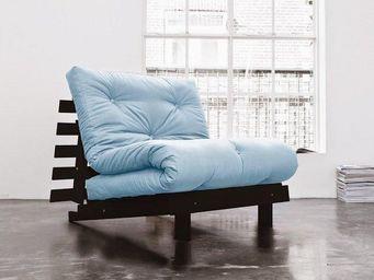 WHITE LABEL - fauteuil bz wengé roots futon bleu celeste couchag - Fauteuil