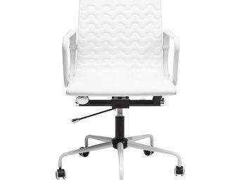 Kare Design - chaise de bureau pivotante wave blanche - Chaise De Bureau