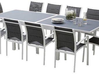 WILSA GARDEN - salon de jardin modulo 1 table + 10 fauteuils blan - Salle À Manger De Jardin