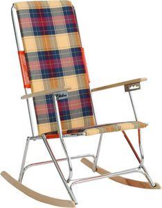 HEVEA - fauteuil bascule acier et bois lido ecossaise viri - Fauteuil De Jardin
