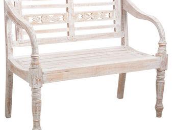 Aubry-Gaspard - banc de jardin en bois blanc patiné - Banc De Jardin