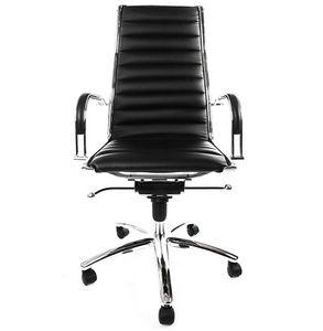 KOKOON DESIGN - fauteuil de bureau en similicuir noir et métal chr - Chaise De Bureau
