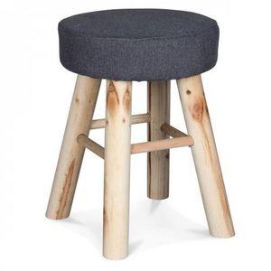 Demeure et Jardin - petit tabouret rond gris flanelle pieds en bois - Tabouret